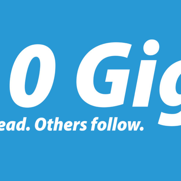 Banner that reads 10 Gig. We Lead. Others Follow.